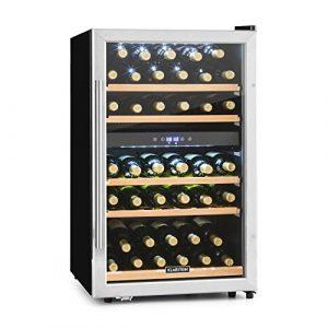Klarstein Vinamour 40D Cave à vin (135L, 2 zones de température, 41 bouteilles, panneau de commande tactile, écran LCD, 5 étagères en bois amovibles)