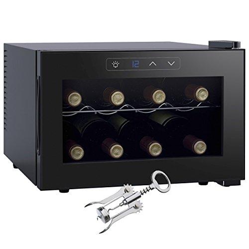 Melissa Cave à Vin Deluxe pour 8 Bouteilles de Vin, Noir Design Moderne avec Affichage LED, Énergie Classe A, 104kWh, Petite Cave à Vin Réfrigérée Inclu Tire Bouchon Oramics