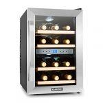 Klarstein Reserva Cave à vins Cave à vin réfrigérante Capacité de 34 litres 12 bouteilles 4 étagères amovibles Commande intuitive Température réglable 7 à 18 °C Noir-Argent