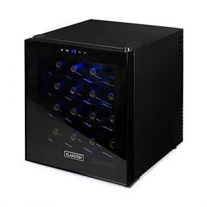 Klarstein Minibar • Cave à vin réfrigérée • 16 bouteilles • Volume 48L • Châssis entièrement noir • Porte teintée • LED bleues • 4 étagères chromées • Touchpad • Noir