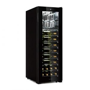 Klarstein Bellevin 62 • Cave à vin • Compresseur • 173L • 56 bouteilles • 1 zone de refroidissement pour 5-20°C • Classe d'efficacité énergétique A • Etagère jusqu'à 15 verres • 10 tiroirs • noir