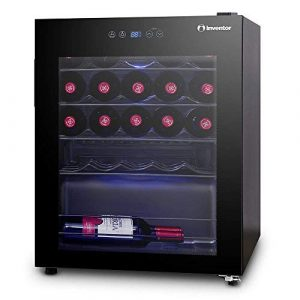 Inventor Vino Cave à Vin Réfrigérée 66L (peut contenir jusqu'à 24 bouteilles de vin de taille standard), Porte Vitrée UV, Éclairage Intérieur LED Bleu