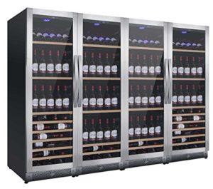 Cave à vin Casier à bouteilles Mobile 580 NW580Q YW-Nevada-S Glacière vin dégivrage automatique professionnelle 4 températures de 5 à 22 °C/Classe B énergétique Porte et poignées en acier inoxydable tiroirs bois massif Cave à Vin-pose libre et à encastrer