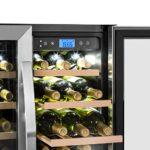 Klarstein Vinovilla Duo42 – Cave à vin, Volume: 126 L, Éclairage intérieur à LED en trois couleurs, 42 bouteilles, 2 zones de refroidissement, Noir