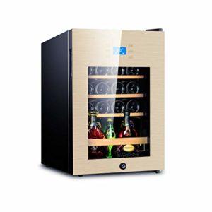 Réfrigérateur Cave à Vin Bière Boisson Boisson Chiller Réfrigérateur Cave 62L 5-18 ℃ Température Zone Lock & Key Bleu LED 43×48×63cm (Color : Golden)