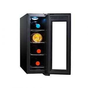 4 Bouteilles Cave à Vin Réfrigérée Cooler 11-18 ℃ Zone Température Boissons Réfrigérateur porte en Verre Chambre Bureau Cuisine S'intègre Salle à Manger 50 × 16,5 × 44,5 cm