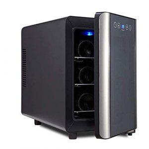 BEANFAN 6 bouteilles de vin thermoélectriques Cooler Réfrigérateur, Fonctionnement silencieux tactile Contrôle de la température Température Shelf ° C 8 Bois -18 ° C Porte en verre