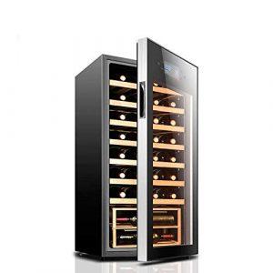BEANFAN Autoportantes Rouge/Blanc Wine Cooler, Touch Control/Double en verre trempé/Fonctionnement silencieux Réfrigérateur (32 bouteilles)