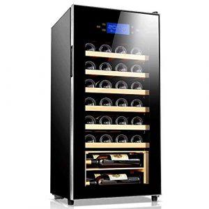 BEANFAN En bois massif étagère vin 32 bouteilles thermoélectriques Cabinet-vin rouge et blanc Cooler/Chiller comptoir Cave à vin avec affichage de la température numérique