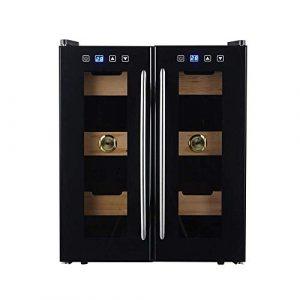 BEANFAN Mini Deux zones PLACARD vin autoportant en acier inoxydable, 24 bouteilles de vin autoportant Cabinet Réfrigérateur, porte en verre