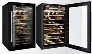 Cave à vin de service Candy CWC154EEL – Cave de service- Capacité : 41 bouteilles – Froid statique – Noir – Porte Vitrée – 6 clayettes Bois – classe A