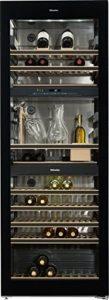 Cave à vin de service Miele KWT6834SGS – Cave de service Multi-températures – Capacité : 178 bouteilles – Froid dynamique – Noir – Porte Vitrée – 10 clayettes- classe A