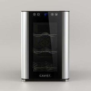 Cavist CAVIST6 Cave à vin 6 bouteilles de service 20L pose libre Petite Professionnelle Inox, WineCellar réfrigérante Thermo Electrique multi température 8°C-18°C, Silencieuse, Porte vitrée anti UV