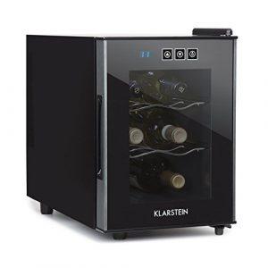 Klarstein Ceres Cave à vin réfrigérée • 16l 6 bouteilles 38 dB porte verre • Réglage précis de 12 à 18 degrés • Seulement 38 dB lors du fonctionnement • Porte en verre effet miroir avec panneau de commande tactile • Poignée • Noir