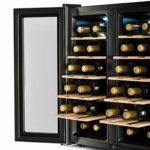 Klarstein SalooNapa – Cave à vin, Silencieuse, 10 étagères, Température de 11 à 18 °C, 67 L de volumes, 24 bouteilles, argent
