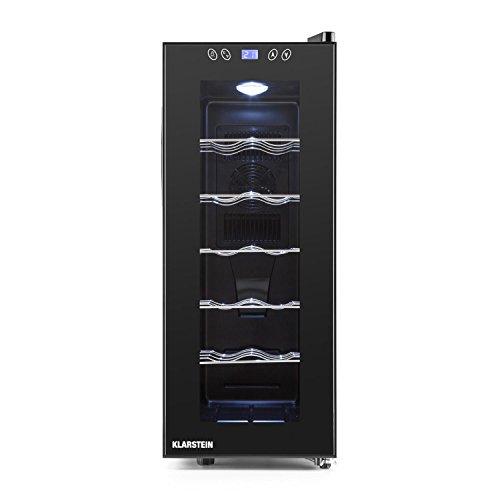 Klarstein Vinamora • cave à vin • Réfrigérateur à boissons • Réfrigérateur gastronomique • 35 litres • 12 bouteilles • 5 tiroirs en acier inoxydable • Éclairage LED • autonome • très silencieux • noir