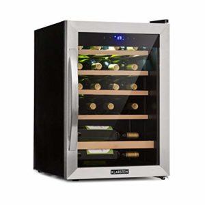 Klarstein Vinamour 19 – Cave à vin, Avec porte vitrée, 19 bouteilles, 65 L, 4-18°C, seulement 39 dB, éclairage intérieur, commande tactile, noir