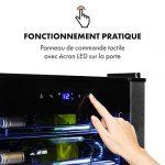 Klarstein Vinomatica – Cave à vin, Compacte, Capacité de 95L, 36 bouteilles, Porte panoramique, Cadre en acier inoxydable noir, Eclairage intérieur, 6 tablettes amovibles, Réglable de 4 à 18°C, Noir