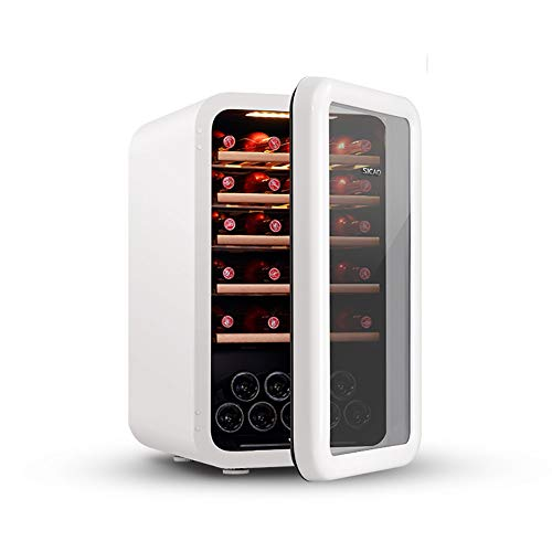 LUUDE Réfrigérateur à vin, 49 Bouteilles de vin Réfrigérateur Avant Verre Zones de température 5-18 ° C Écran Tactile Cave à vin,Blanc