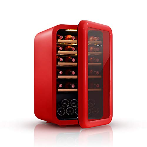 LUUDE Réfrigérateur à vin, 49 Bouteilles de vin Réfrigérateur Avant Verre Zones de température 5-18 ° C Écran Tactile Cave à vin,Rouge