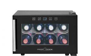 ProfiCook PC-GK 1162 refroidisseur à vin Autonome Black 8 bouteille(s) Refroidisseur de vin thermoélectrique A – Cave à vin (Autonome, Black, Black, 2 étagères, 1 portes(s), Black)