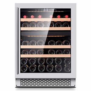 Sonw Yang Refroidisseur à vin encastré thermoélectrique à Deux Zones avec Commande de température Tactile, réfrigérateur Silencieux avec Porte en Verre fumé pouvant contenir jusqu'à 39 Bouteilles