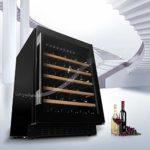 Thermostat cabinet Sonw Yang Refroidisseur à Vin Compact, RéFrigéRateur à Vin Rouge 145l avec Porte Transparente, éCran Tactile, Serrure Et Clé, Mini-RéFrigéRateur EmboîTable Streamline, Noir