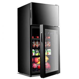 Tx Petit réfrigérateur à double porte – Refroidisseur à vin numérique de 106 litres et cave à vin, réglage de la température avec bouton mécanique | Lumière froide LED | Verre trempé double