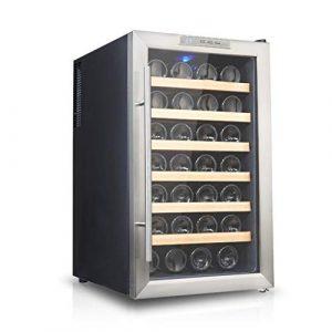 TX Refroidisseur à vin 28 Bouteilles, réfrigérateur, Bouton mécanique, LED, Basse consommation, Noir