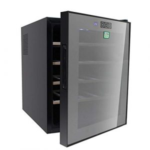 Wine Cooler TX À vin sous Le comptoir Noir | 10-18 ° C | Refroidisseur à vin de 20 Bouteilles | Lumière Froide LED | Cave à Boissons en Verre | Zone Unique