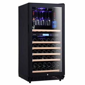 GXFC Autoportant Cave à vin Réfrigérateur, Fridge de vin/Boisson à Deux Zones de température, Cintre en Verre à vin, Touch Control/Affichage numérique de la température