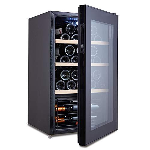 HYYQG Cave à Vin Réfrigérée 32 Bouteilles Mini Réfrigérateur à Vin et Boisson Témpérature 6°C – 20°C Panneau Tactile Vitrée Isolée Éclairage Intérieur LED White, Black