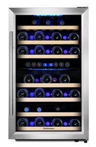 Kalamera KRC-45BSS Design Cave à vin réfrigérée 2 zones 45 bouteilles (jusqu'à 310 mm de hauteur) refroidisseur à vin avec compresseur, deux zones de température 5-10 ° C / 10-18 ° C,120 Litres