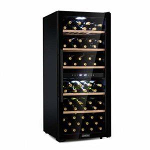 Klarstein Barossa 102D – Cave à vin, Luxueuse, Convenant à tout style d'intérieur, Températures réglables séparément, 5 à 18 °C, 102 bouteilles, 5 plateaux de bois amovibles, Noir