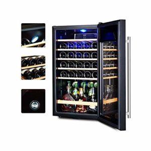 WSMLA Cave à vin et réfrigérateur autoportant rafraîchisseur à vin Réfrigérateur en Acier Inoxydable avec Porte en Verre Cave à cigares Cave à vin température constante réfrigérateur vin