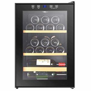 AURALLL LED – Réfrigérateur à vin de Table Noir | 4-18 ° C | Cave à Boissons en Verre | Refroidisseur à vin | 3 Couches 60 cm de Profondeur (25 Bouteilles)