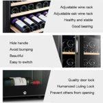 LP-LLL Refroidisseur à vin – Réfrigérateur à vin, 2 zones de refroidissement programmables, 20-34 bouteilles de vin, 5-18 °C, Réfrigérateur à température réglable