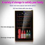 LP-LLL Refroidisseur à vin – Réfrigérateur à vin, 70 L, 2 zones de refroidissement programmables, 24 bouteilles de vin, 5-18 °C, Refroidisseur de vin autonome à température réglable