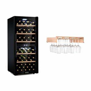 Klarstein Barossa 102D ensemble cave à vin – refroidisseur à vin, réfrigérateur à vin, réfrigérateur à compression, 102 bouteilles, température: 5-18 °C, 2 zones, contrôle tactile, noir