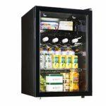 LEILEI Mini réfrigérateur 80L Armoire à vin Armoire Cave à vin bière Boisson réfrigérateur Silencieux compresseur réglable température indépendante