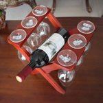 LUNAH Support à vin en Bois de comptoir en Bois pour 1 Bouteilles et 6 Tasses en Verre Bar Cave à vin Cave Cave Garde-Manger