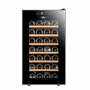 LUUDE Cave à vin Réfrigérateur, température et d'humidité vin Cabinet, Noir, 28 Bouteilles (6 étagères, 1 Porte),Beech