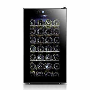 LUUDE Cave à vin Réfrigérateur, température et d'humidité vin Cabinet, Noir, 28 Bouteilles (6 étagères, 1 Porte),Stainless Steel