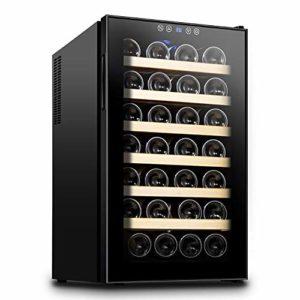 LUUDE Cave à vin Réfrigérateur, vin réfrigérateur jusqu'à 28 Bouteilles, 12-18 ° C, adapté pour Le Bureau Personnel, Chambre familiale, Salle à Manger Cuisine Chambre