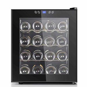 16 Bottle Thermoelectric Wine Cooler – vin rouge et blanc Chiller – Cave à vin de comptoir – Réfrigérateur autoportant avec écran LCD tactile numérique Commandes 8bayfa