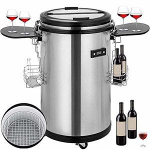 Atten Cave à vin Boissons Réfrigérateur Autonome Chiller Portable Haute capacité vin Rouge et Blanc Bière Champagne Cooler en Acier Inoxydable Fonctionnement Silencieux 50L