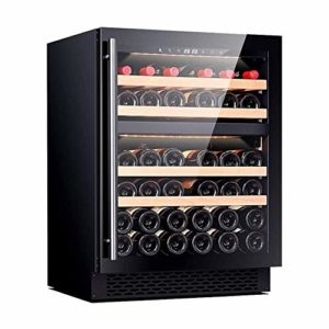 Cave à vin, 39 Bouteilles de vin Réfrigérateur Contrôle d'humidité numérique Intelligent Compresseur intégré ou autoportantes Caves à vin for Bureau Bar (Couleur: Argent) ANGANG (Color : Black)