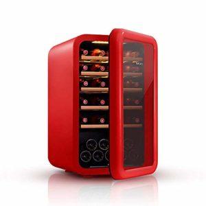 Cave à vin, 49 Bouteilles de vin en Verre Réfrigérateur Zones de température Avant 5-18 deg; C Écran Tactile Rafraîchisseur à vin, Rouge ANGANG (Color : Red)