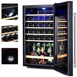 Cave à vin et réfrigérateur autoportant rafraîchisseur à vin Réfrigérateur en Acier Inoxydable avec Porte en Verre Cave à cigares Cave à vin température constante réfrigérateur vin ANGANG