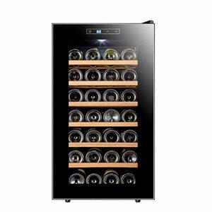 Cave à vin Réfrigérateur, température et d'humidité vin Cabinet, Noir, 28 Bouteilles (6 étagères, 1 Porte), Hêtre ANGANG
